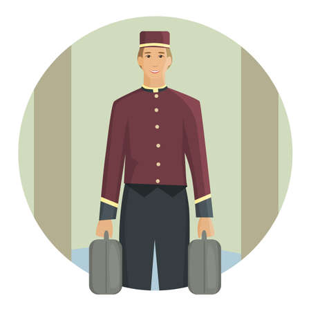 Porter carrying a suitcase, flat design