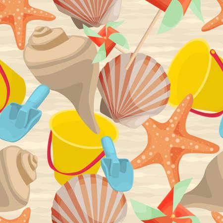 molinete: Verano de fondo sin fisuras con las conchas, estrellas de mar, cubo beb� y perinola en dise�o plano