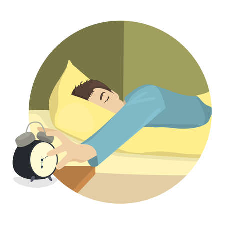 sleepy man: Sleepy man turns off the alarm-clock, flat design Illustration