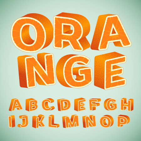 orange pattern: Colorful 3d Alphabet with orange pattern