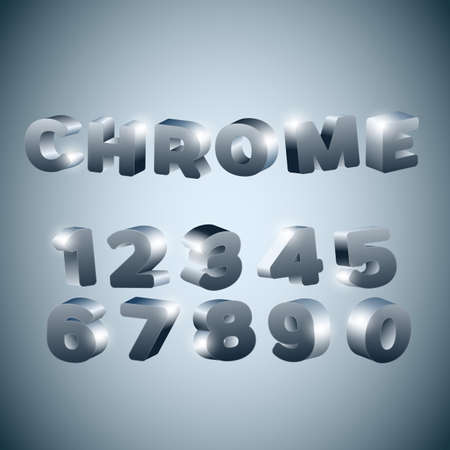 chrome: 3d Numbers stylized chrome surface