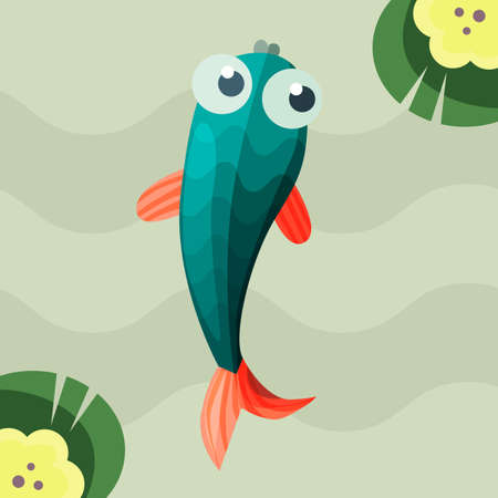 water lilies: Little Fish in pond with water lilies in flat design