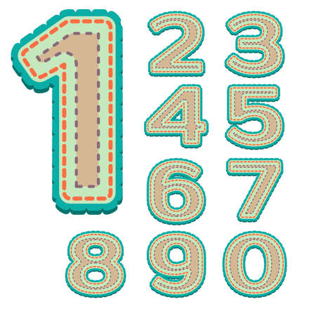 Colorful Numbers with stitches Vector
