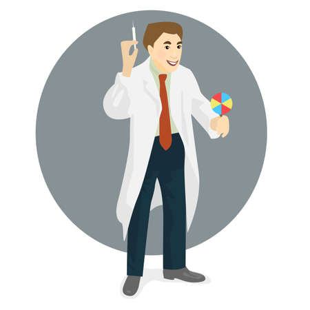 hospital gown: Doctor in medical gown with syringe and candy in hands, flat design Illustration