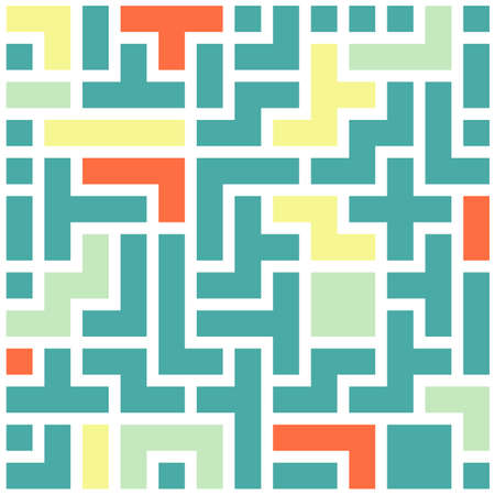 Seamless colorful Abstract background made of tetris shapes Illustration