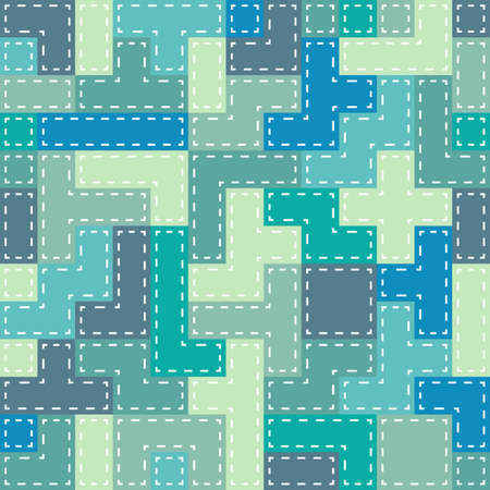 Seamless colorful Abstract background made of tetris shapes in patchwork style Illustration