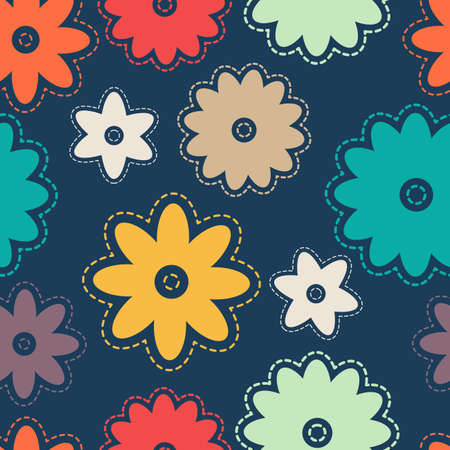 stitches: Seamless colorful background with abstract flowers with stitches