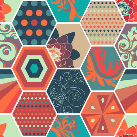 miscellaneous: Seamless abstract background made of colorful honeycombs with  miscellaneous pattern
