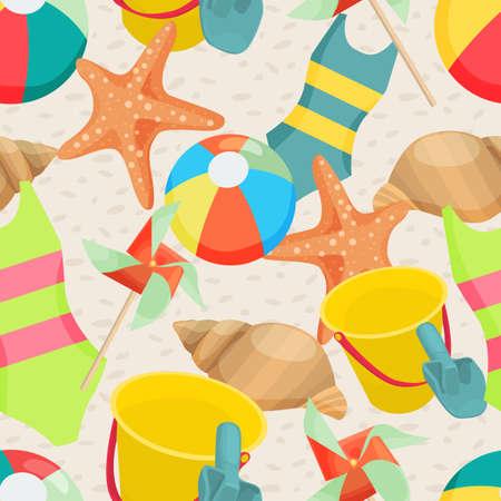 sandbox: Seamless background with different summer attributes in flat design Illustration