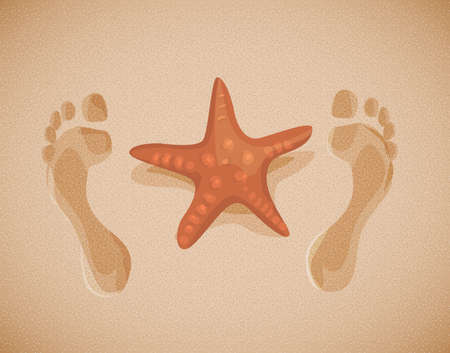 seacoast: Image of sand with wet traces of feet and sea star in flat design