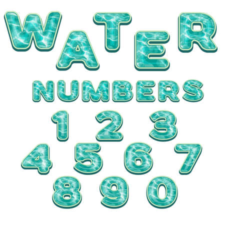 numbers: Colorful Numbers with water pattern