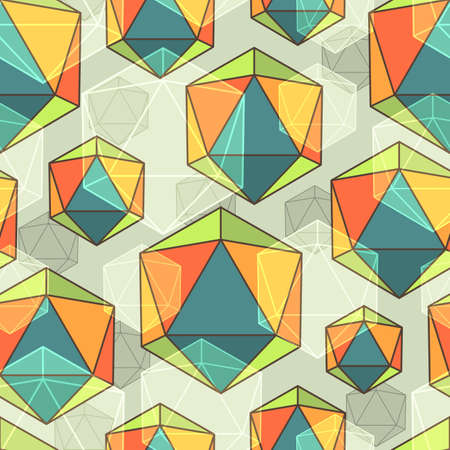 icosahedron: Seamless abstract colorful background made of icosahedrons Illustration