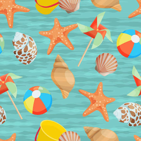 the attributes: Seamless background with different summer attributes in flat design Illustration