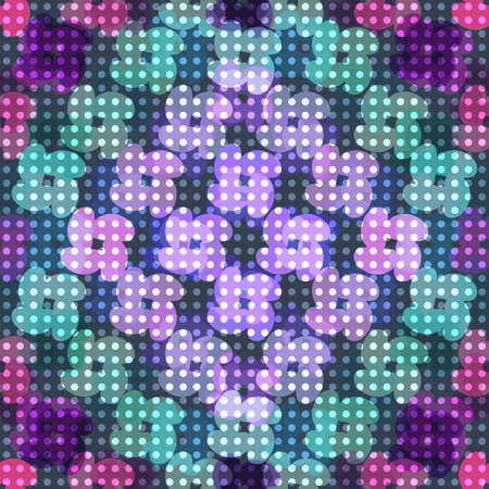 luminescent: Seamless abstract colorful background made of simple flowers and luminescent dots