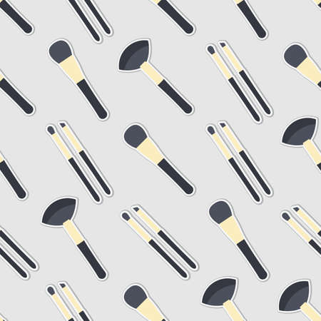 make up brushes: Seamless colorful background made of brushes for make up in flat design Illustration