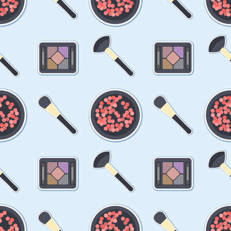 make up brush: Seamless sfondo colorato fatto di ombretti, blush e pennelli per il make up in design piatto