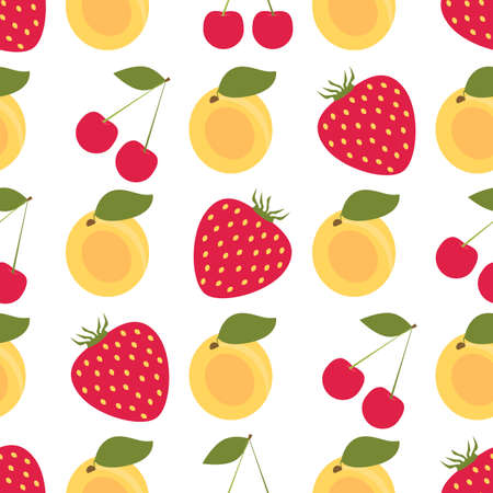 apricot tree: Seamless colorful background made of fruits and berries such as cherry, strawberry and apricot in flat design