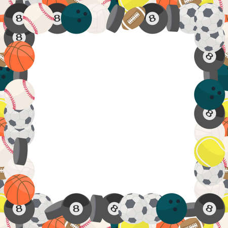 colorful frame made of different kind of balls in flat design Vector
