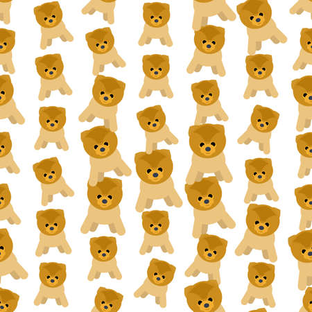 spitz: Seamless colorful background made of dogs breed spitz in flat design Illustration