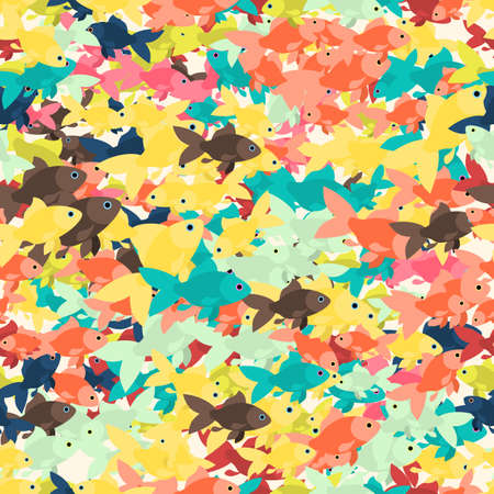 Seamless colorful background made of different goldfish  in flat design