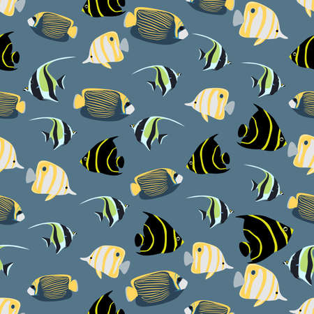 moorish idol: Seamless colorful background made of different exotic fish  in flat design Illustration