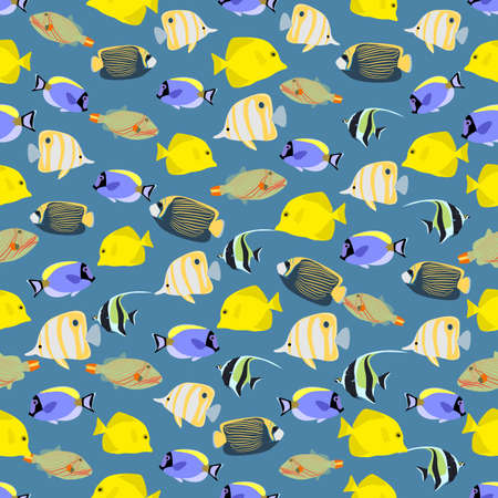 butterflyfish: Seamless colorful background made of different exotic fish  in flat design Illustration