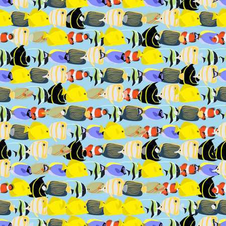 clown triggerfish: Seamless colorful background made of different exotic fish  in flat design Illustration