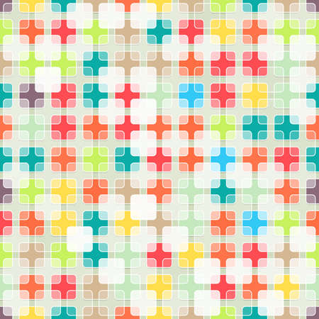 rounded squares: Seamless abstract background made of colorful and white transparent rounded squares