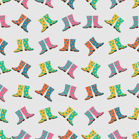 wellingtons: Seamless colorful background made of  wellingtons in flat simple design