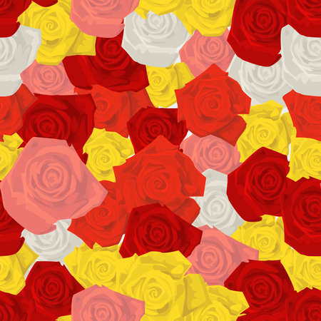 red floral: Seamless colorful background made of  different roses in flat simple design