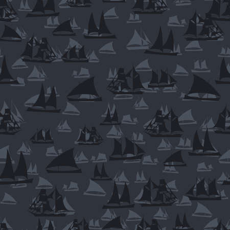 frigate: Seamless colorful background made of  different ships in flat simple design