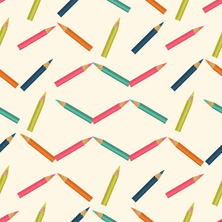 chancellery: Seamless colorful background made of  pencils in flat simple design Illustration