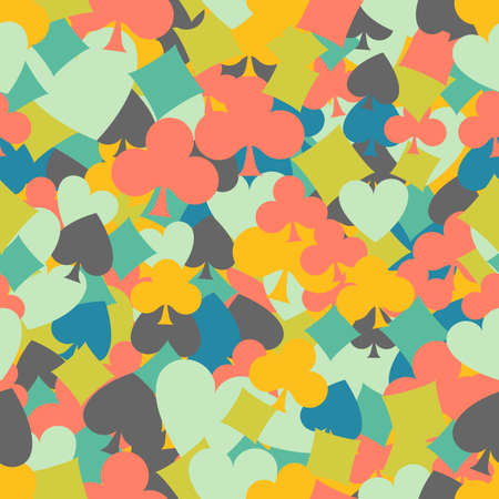 card suit: Seamless colorful background made of card suit in flat design