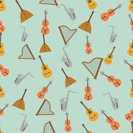 balalaika: Seamless colorful background made of  music instruments in flat simple design