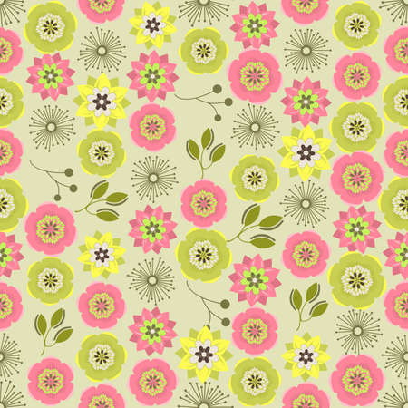 abstract pink: Seamless colorful background made of  abstract pink and green flowers