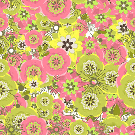groene bloemen: Seamless colorful background made of  abstract pink and green flowers