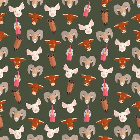 domestic animals: Seamless colorful background made of   heads of farm domestic animals in flat design Illustration