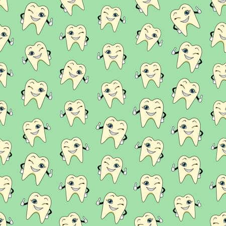 textuur: Naadloze kleurrijke achtergrond gemaakt van cartoons van happy tanden Stock Illustratie