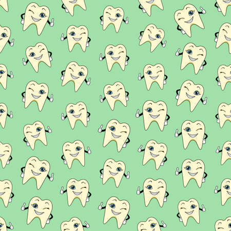 Seamless colorful background made of  cartoons of happy teeth