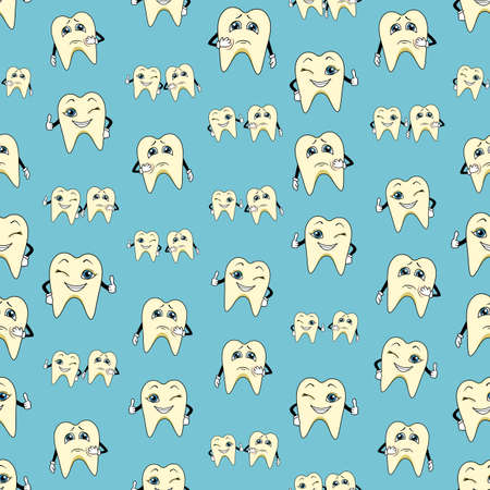 stomatologist: Seamless colorful background made of cartoons of happy and sad teeth