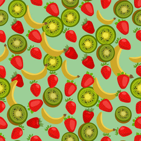 side dish: Seamless colorful background made of strawberry, kiwi and banana in flat design Illustration