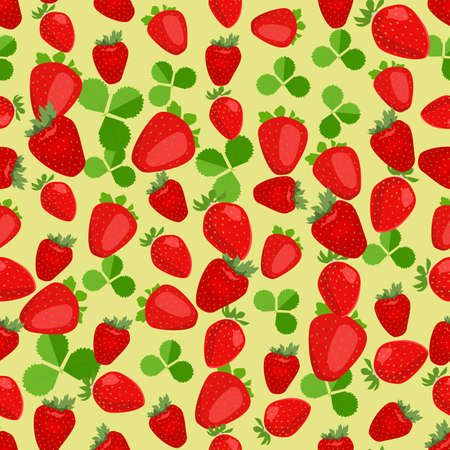 side dish: Seamless colorful background made of strawberry and leaves in flat design