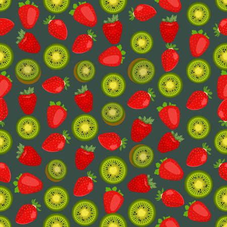 side dish: Seamless colorful background made of strawberry and kiwi in flat design