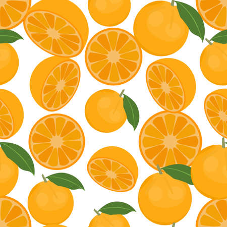 citrus tree: Seamless colorful background made of oranges in flat design