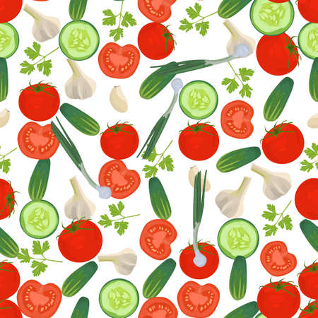 side dish: Seamless colorful background made of vegetables in flat design