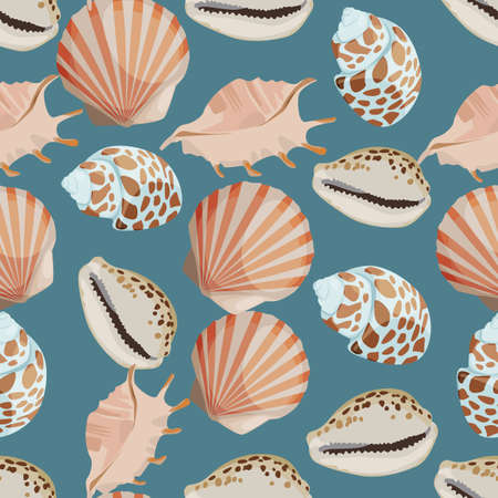conch shell: Seamless colorful background made of shell and conch in flat design Illustration