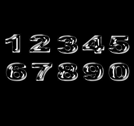 Numbers stylized liquid transparent effect