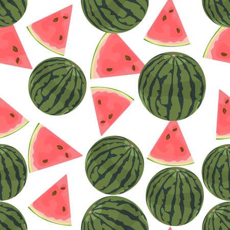 cocteles de frutas: Fondo colorido inconsútil hecho de sandía en diseño plano Vectores