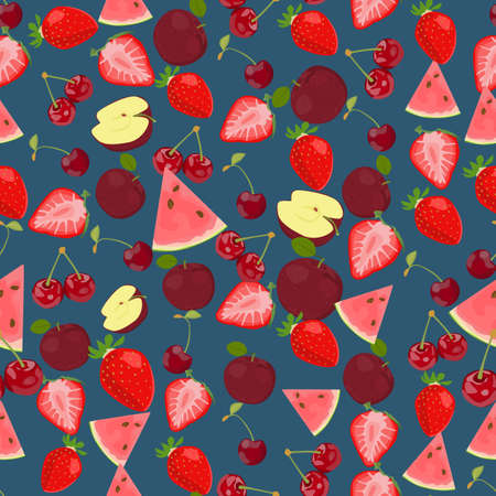 side dish: Seamless colorful background made of  fruits and berries in flat design Illustration