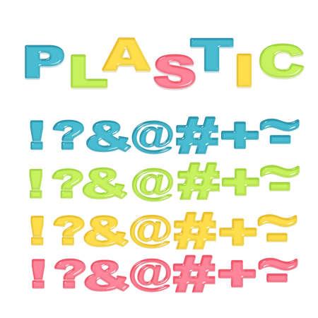 hyphen: Simboli stilizzati in plastica colorata